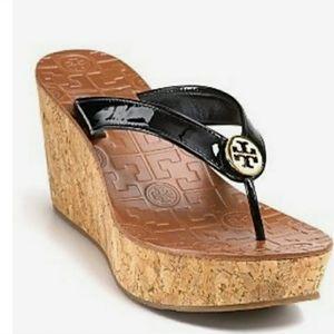 Tory Burch Thora black Cork Wedge Sandal 10